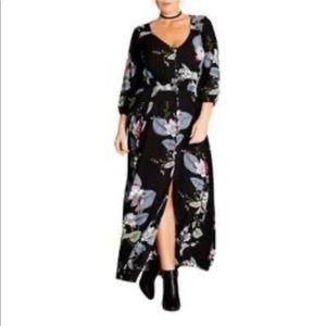 City Chic Dark moody floral maxi dress 18